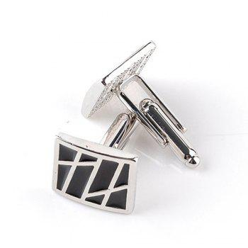 Men's Cufflinks All Match Alloy Striped Oblong Cuff Buttons Accessory -  BLACK STRIPE