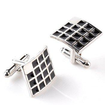 Men's Cufflinks Simple Style Plaid Design Square Cuff Buttons Accessory - BLACK
