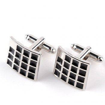 Men's Cufflinks Simple Style Plaid Design Square Cuff Buttons Accessory - BLACK BLACK