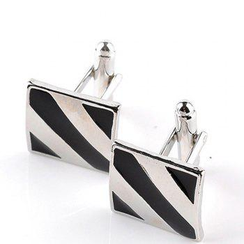 Men's Cufflinks Striped Patchwork Color Lightweight Cuff Buttons Accessory - BLACK WHITE