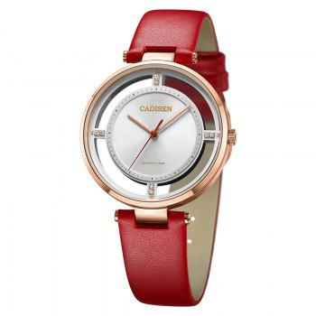 CADISEN C6140 Women Stainless Steel Band Quartz Wristwatch - RED