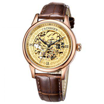 CADISEN C8066 Hollow-out Stainless Steel Band Men Mechanical Wristwatch - ROSE GOLD ROSE GOLD