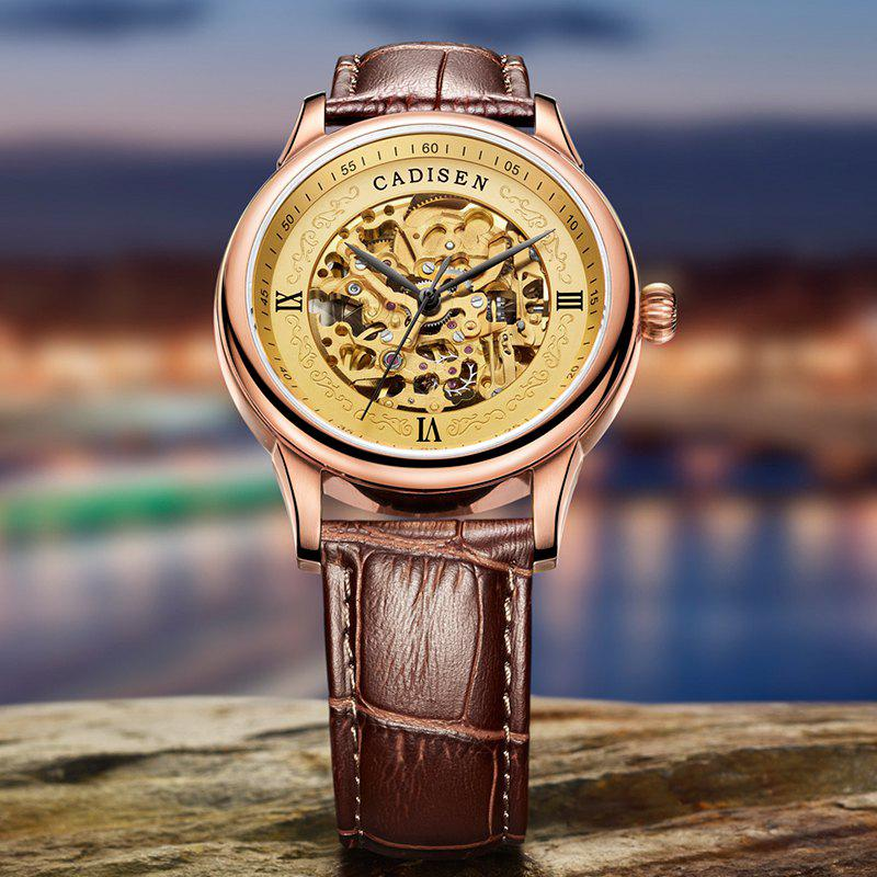 CADISEN C8066 Hollow-out Stainless Steel Band Men Mechanical Wristwatch - ROSE GOLD