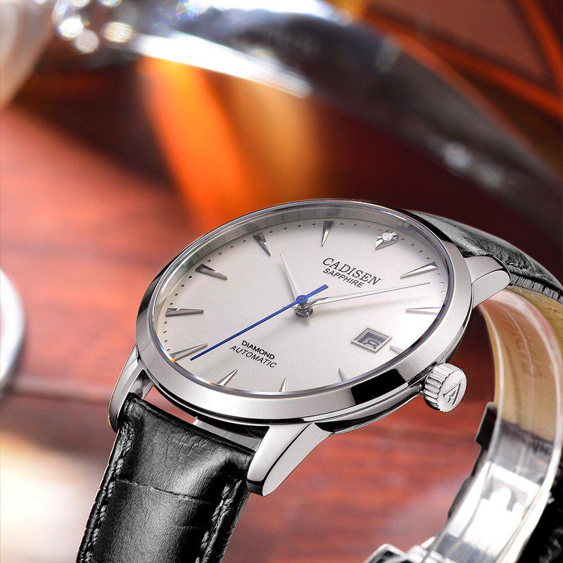 Cadisen C8097 Men Stainless Steel Brand Clock Automatic Watch - WHITE / SILVER