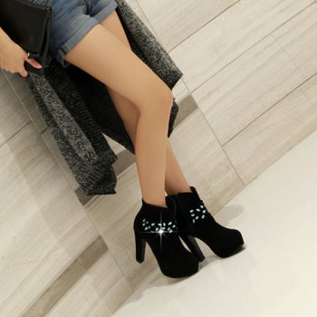 Women's Shoes Winter Fashion Round Toe Booties Ankle Boots Sparkling Glitter Zipper - BLACK 41