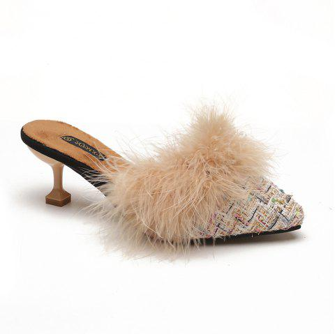 Women Autumn and Winter Fashion Sexy Outdoor Casual Simple Pointed Shoes with Fur Warm Fine Thin High Low Heel - BEIGE 38