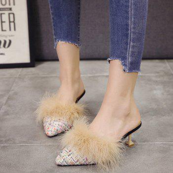 Women Autumn and Winter Fashion Sexy Outdoor Casual Simple Pointed Shoes with Fur Warm Fine Thin High Low Heel - BEIGE 35