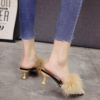Women Autumn and Winter Fashion Sexy Outdoor Casual Simple Pointed Shoes with Fur Warm Fine Thin High Low Heel - BEIGE BEIGE