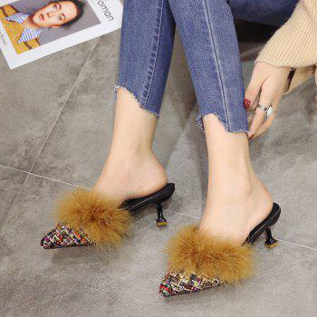 Women Autumn and Winter Fashion Sexy Outdoor Casual Simple Pointed Shoes with Fur Warm Fine Thin High Low Heel - GOLDEN 36