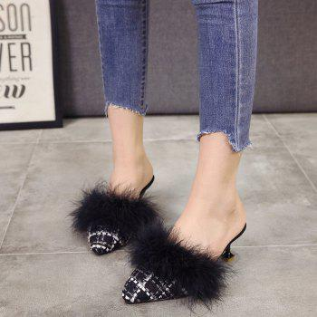 Women Autumn and Winter Fashion Sexy Outdoor Casual Simple Pointed Shoes with Fur Warm Fine Thin High Low Heel - BLACK 39