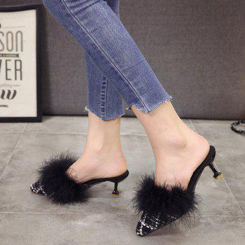Women Autumn and Winter Fashion Sexy Outdoor Casual Simple Pointed Shoes with Fur Warm Fine Thin High Low Heel - BLACK BLACK