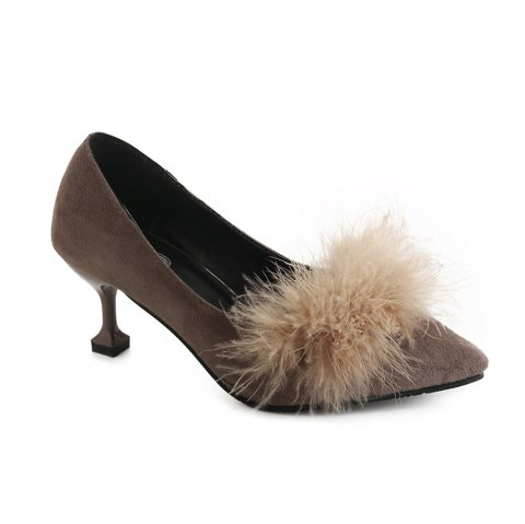 Women Autumn and Winter Fashion Sexy Casual Simple Pointed Shoes with Fur Warm Fine Thin High Low High Heel - KHAKI 35
