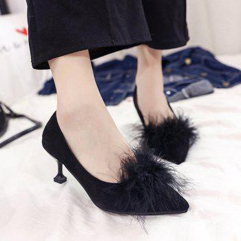 Women Autumn and Winter Fashion Sexy Casual Simple Pointed Shoes with Fur Warm Fine Thin High Low High Heel - BLACK 38