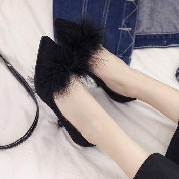 Women Autumn and Winter Fashion Sexy Casual Simple Pointed Shoes with Fur Warm Fine Thin High Low High Heel - BLACK 35