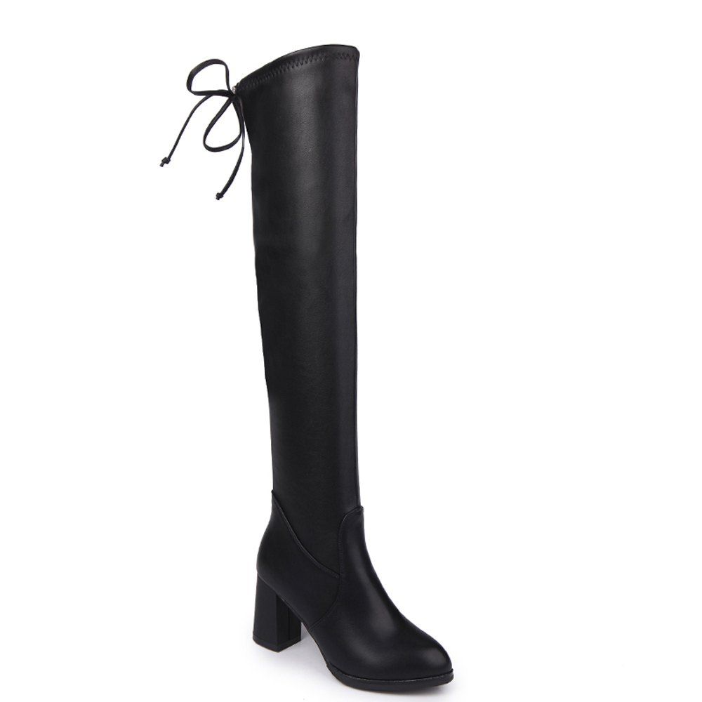 Women Autumn Winter PU Leather Fashion Sexy Warm Knee High Boots Martin Waterproof Block Thick High Heel