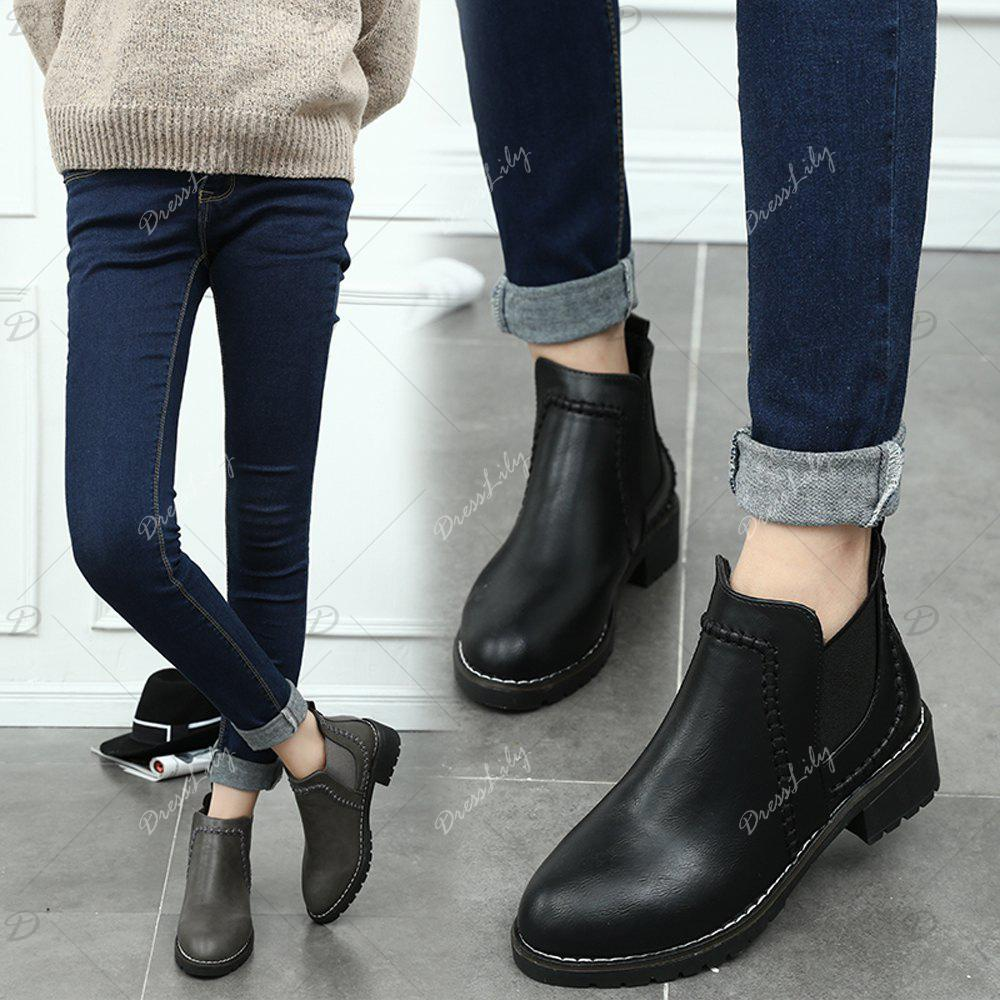 Women Autumn WInter Fashion PU Leather Ankle Martin Flat Boots Waterproof Block Thick Middle High Heel Shoes - GRAY 38