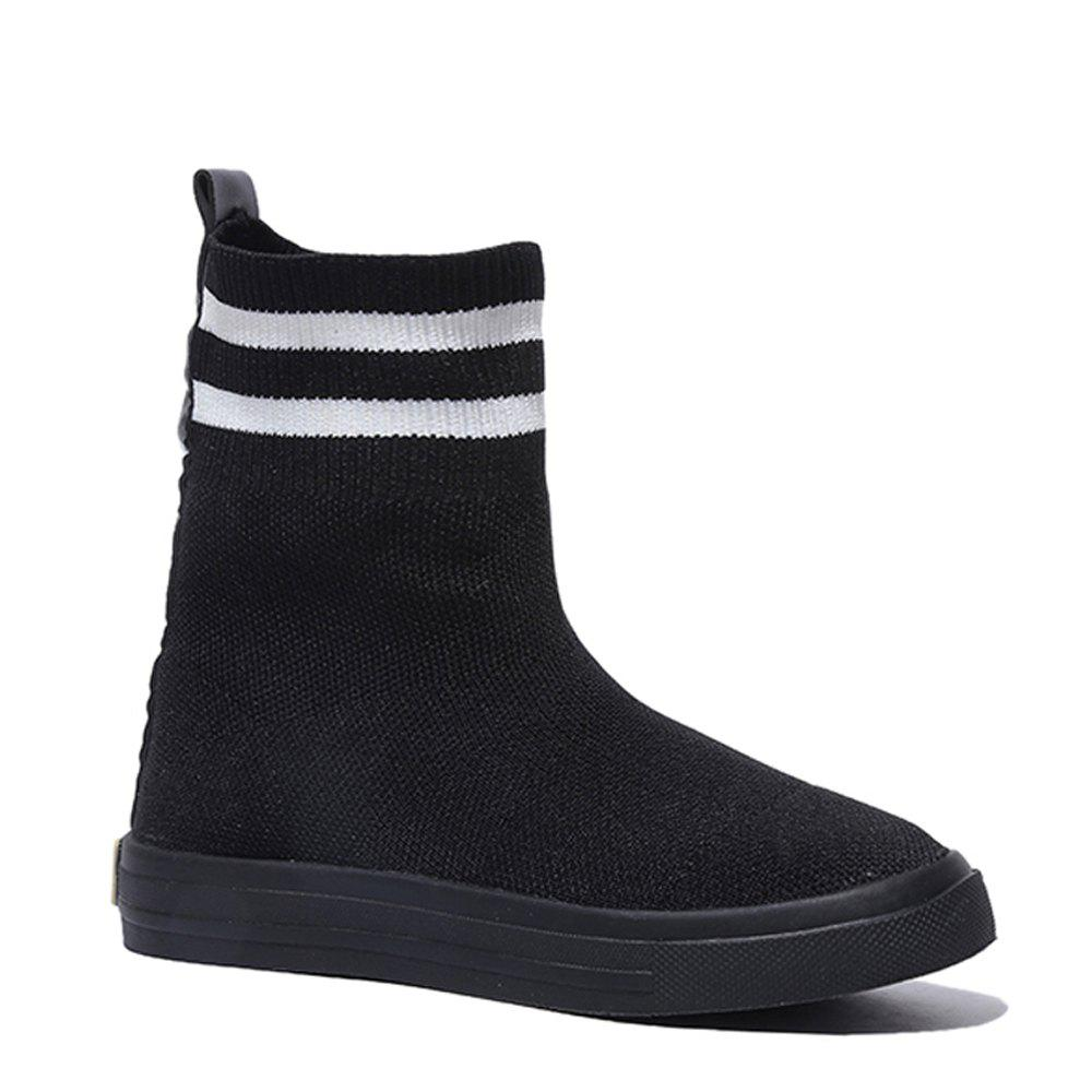 Women Spring Autumn Fashion Casual Block Thick Boots Roman Casual Sports Soft Shoes - BLACK 36