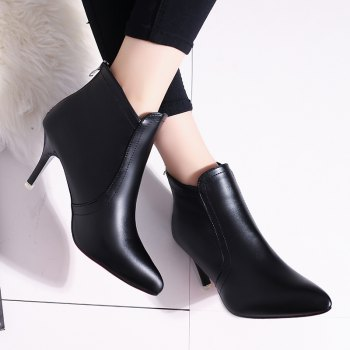 Pointed Short All-match Shoes with Zipper - BLACK 39