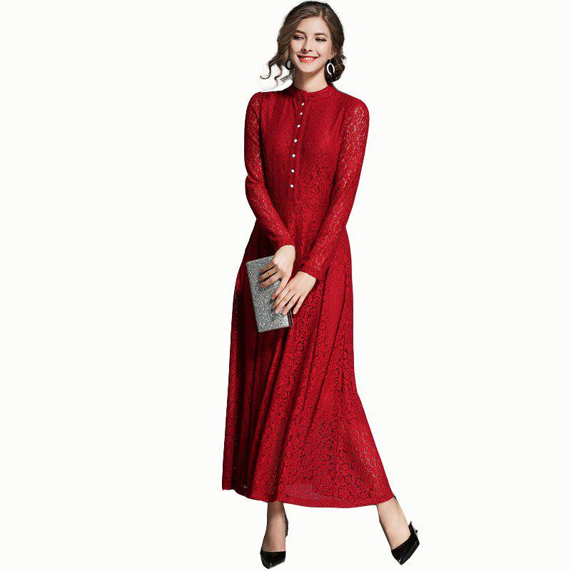 Lace Long Swing Dress - RED M