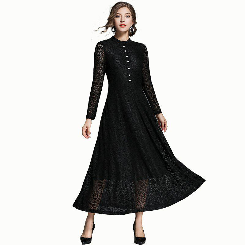 Lace Long Swing Dress - BLACK XL