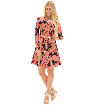 Women Flowers Printing Elegant Dress - JACINTH 2XL
