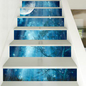 DSU New Creative Forest Moonlight DIY Steps Removable Stair Sticker Home Decor Ceramic Tiles Patterns - COLORFUL COLORFUL
