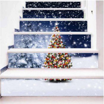 DSU New Year Staircase Christmas DIY Snow Town Wall Stickers Home Decal 6PCS - COLORFUL COLORFUL
