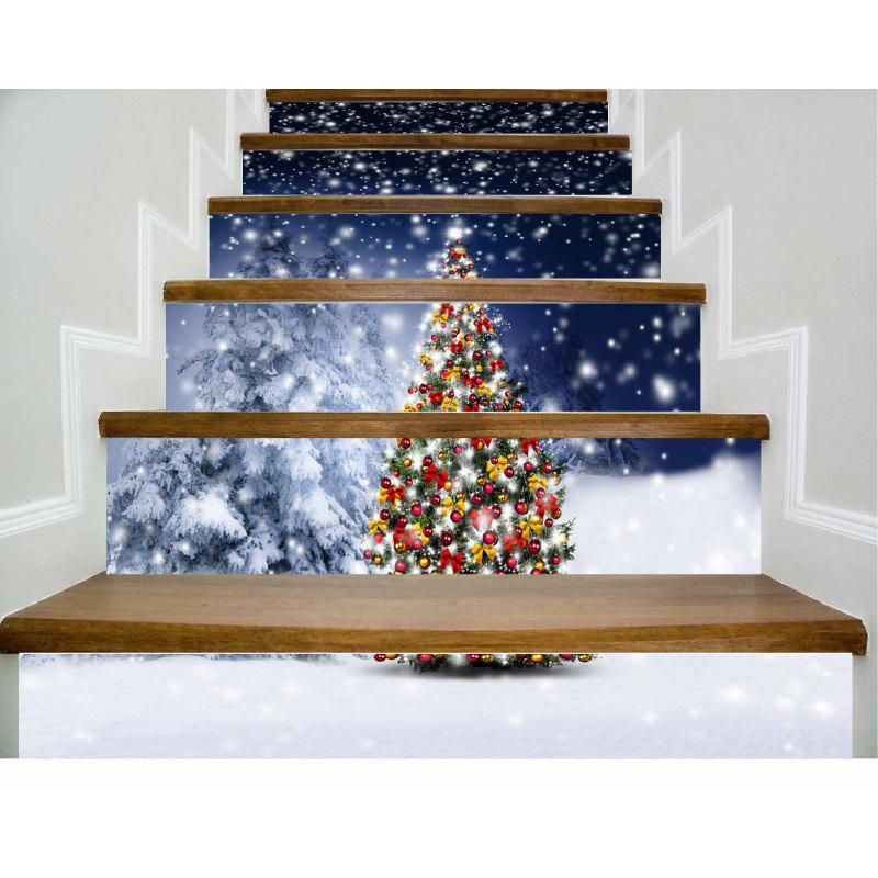DSU New Year Staircase Christmas DIY Snow Town Wall Stickers Home Decal 6PCS - COLORFUL 18 X 100CM