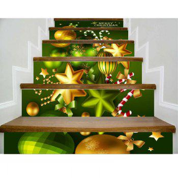 DSU Newest Festival Stair Sticker Decals Murals Christmas Decorations for Home Decor 6Pcs - COLORFUL 18 X 100CM