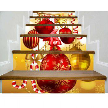 DSU New Christmas Decorative Decal Stair Stickers Removable DIY Wall Xmas Snowflake Santa Sticker 6PCS - COLORFUL COLORFUL