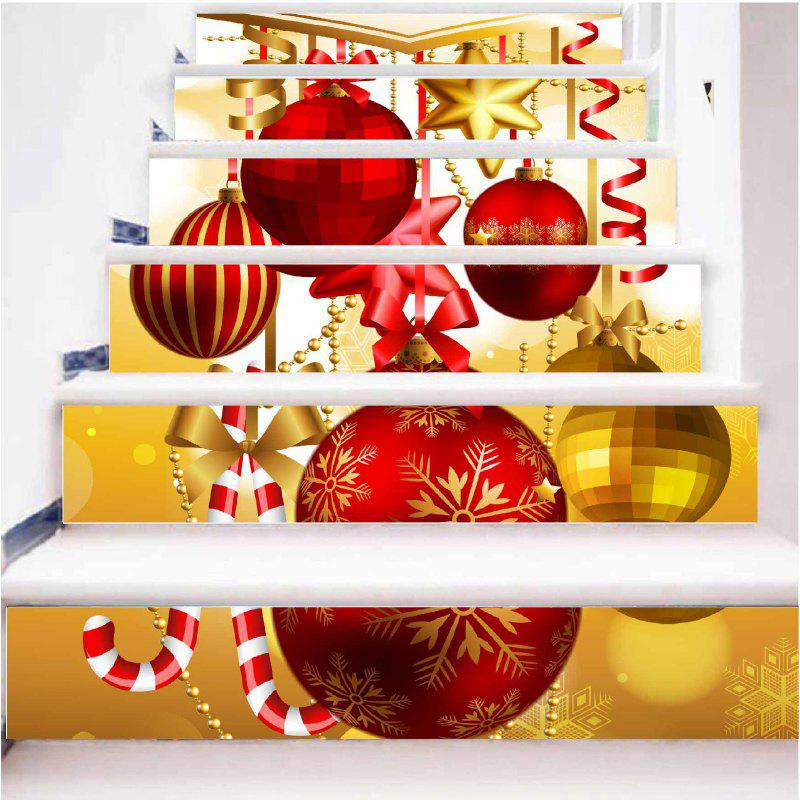 DSU New Christmas Decorative Decal Stair Stickers Removable DIY Wall Xmas Snowflake Santa Sticker 6PCS - COLORFUL 18 X 100CM