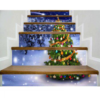 DSU Christmas Tree Stair Sticker Vinyl Removable Wall Stickers Home Wall Decor Poster Vinilos Paredes 6PCS - COLORFUL COLORFUL