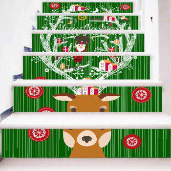 DSU Newest Deer Stair Stickers Listed on The New Christmas Tree Xmas Decoration Wall Decals in The New Year 6PCS - COLORFUL COLORFUL