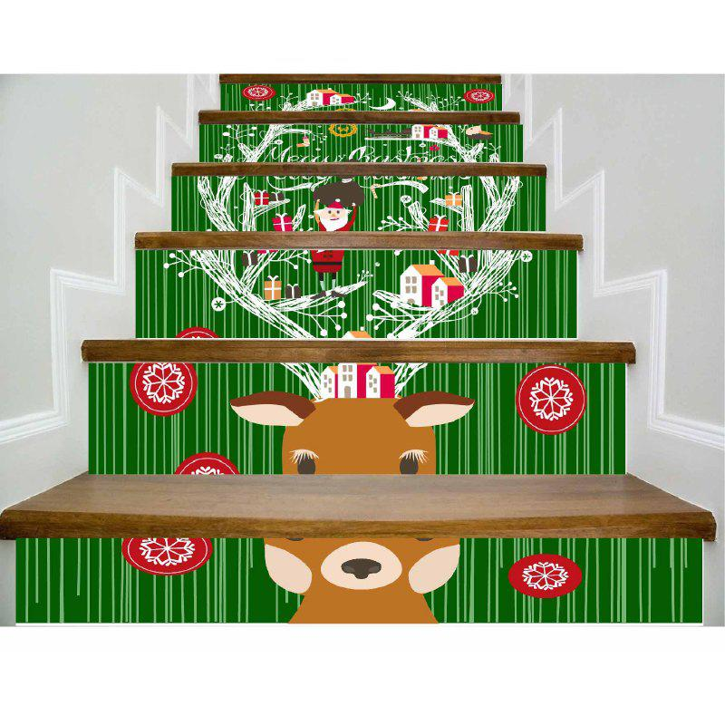 DSU Newest Deer Stair Stickers Listed on The New Christmas Tree Xmas Decoration Wall Decals in The New Year 6PCS - COLORFUL 18 X 100CM