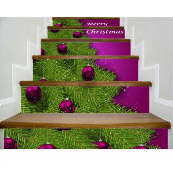 DSU Christmas Home Decoration Stair Stickers Xmas PVC Wall Decals Home Decor 6PCS - COLORFUL COLORFUL