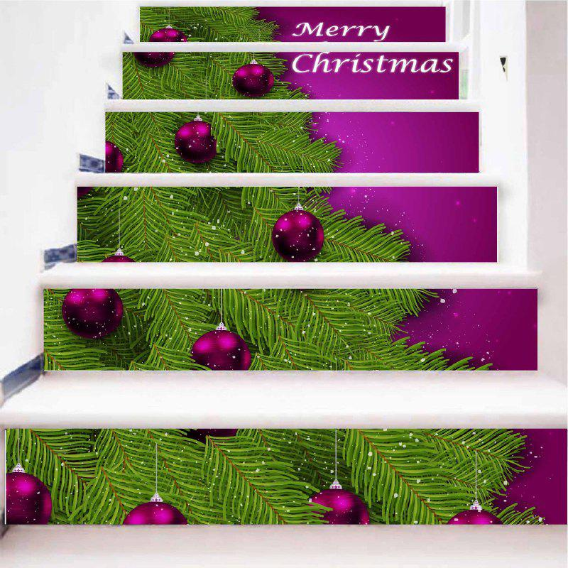 DSU Christmas Home Decoration Stair Stickers Xmas PVC Wall Decals Home Decor 6PCS - COLORFUL 18 X 100CM