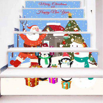 DSU Amovible Escalier Sticker Santa Claus De Noël Sticker Vinilos Décoration 6 PCS - coloré 18 X 100CM