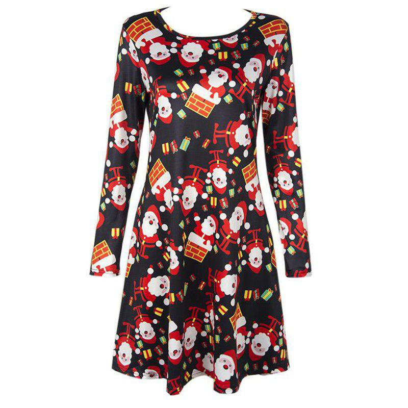 Women's  Long Sleeve Santa Print Christmas Swing Dress - BLACK L