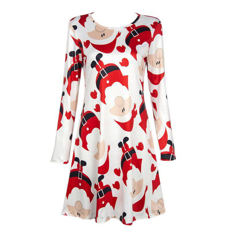 Women's  Long Sleeve Santa Claus Print Christmas Swing Dress long sleeve santa print christmas mini swing dress