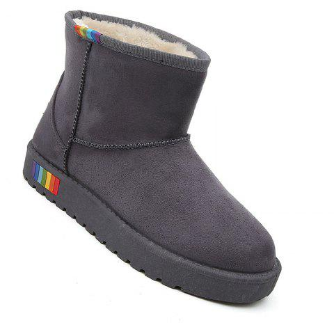 Lady Casual Rubber Warm Snow Suede Trend for Fashion Home Slip on Shoes - GRAY 35