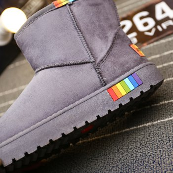 Lady Casual Rubber Warm Snow Suede Trend for Fashion Home Slip on Shoes - GRAY 36