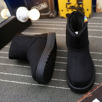 Lady Casual Rubber Warm Snow Suede Trend for Fashion Home Slip on Shoes - BLACK 35