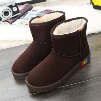 Lady Casual Rubber Warm Snow Suede Trend for Fashion Home Slip on Shoes - BROWN 39