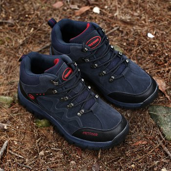 Men Casual New Trend for Fashion Outdoor Lace Up Rubber Big Plus Size Shoes - BLUE 43