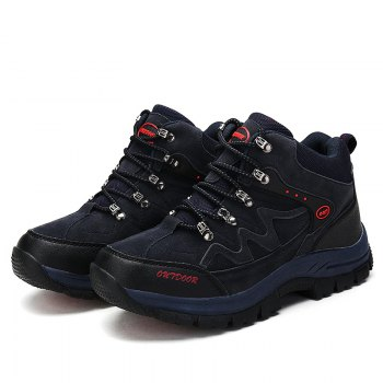 Men Casual New Trend for Fashion Outdoor Lace Up Rubber Big Plus Size Shoes - BLUE BLUE