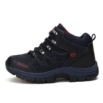 Men Casual New Trend for Fashion Outdoor Lace Up Rubber Big Plus Size Shoes - BLUE 40