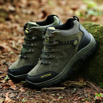 Men Casual New Trend for Fashion Outdoor Lace Up Rubber Big Plus Size Shoes - GREEN 42