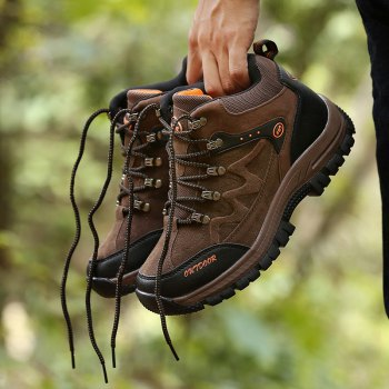 Men Casual New Trend for Fashion Outdoor Lace Up Rubber Big Plus Size Shoes - BROWN 48