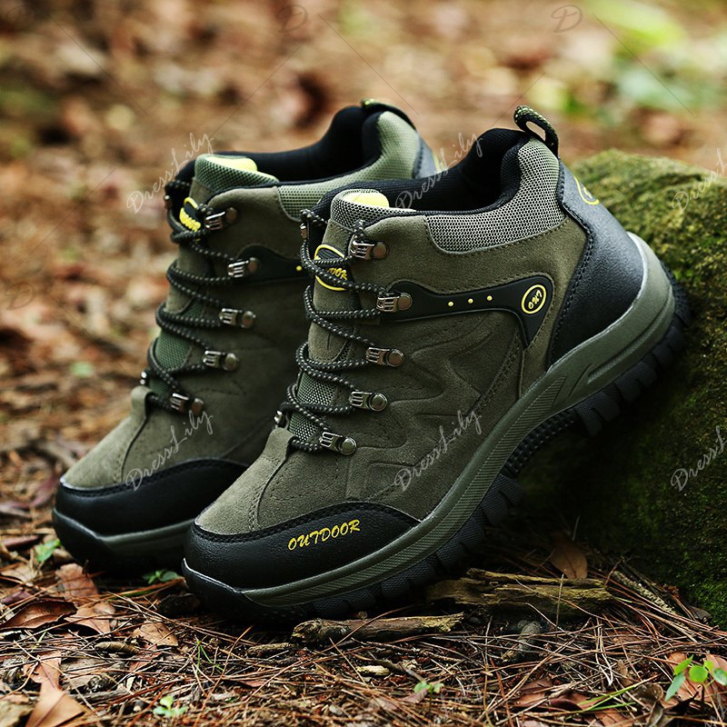 Men Casual New Trend for Fashion Outdoor Lace Up Rubber Big Plus Size Shoes - GREEN 48