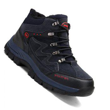 Men Casual New Trend for Fashion Suede Warm Outdoor Lace Up Rubber Big Plus Size Shoes - BLUE BLUE